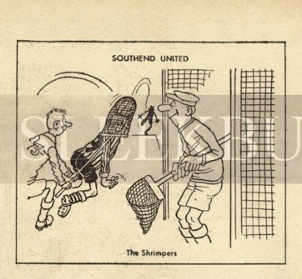 VINTAGE Football Print SOUTHEND - THE SHRIMPERS Funny Cartoon